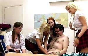 Sexy cfnm schoolgirls teach cfnm dick