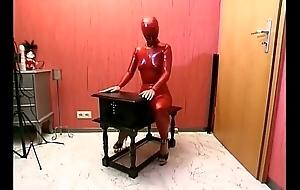 Tied fro menial girl posing on touching latex