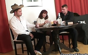 Wonderful threesome after poker with granny