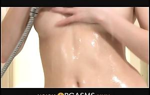 Orgasms - A Porcelain pulchritude plays encircling himself