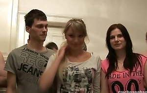 GIRLFRIEND AND HER SISTER GET FUCKED To hand CZECH GANG BANG