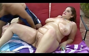 Busty MILF Is Oiled plus Fucked By the Pool