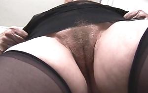 Busty hairy granny upskirt tease
