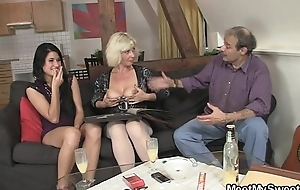 This guy finds her GF fucking his old parents