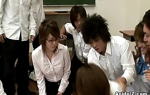 Horny Japanese teacher gets screwed and abused
