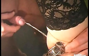 Blonde in dark-skinned lingerie gets gynecological therapy
