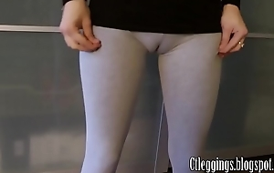 Workout cameltoe with Grey leggings.