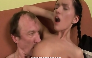 Kinky age-old trainer rendering his shaved student more