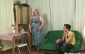 Horny granny seduces her son in law