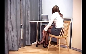 Secretary sexual relations in sheer crotchless pantyhose