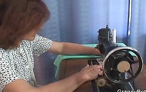 He bangs sewing granny