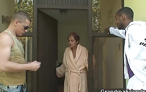 Two guys have a go fun with granny