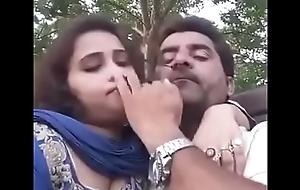 boobs press giving a kiss in park selfi video