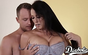 Lingerie clad Reagan Foxx bouncing on chubby cock probe BJ
