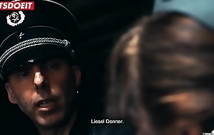 Abused brunette by German officer lady is snivel allowed to cum