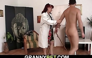 Hot redhead age-old woman sucks and rides his meat