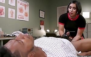 Asian slaver doctor strokes black slaves dick
