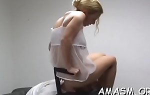 Undressed girl face sitting upstairs say no to man during their femdom play