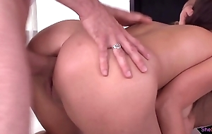 Anal caring Euro babe spit roasted