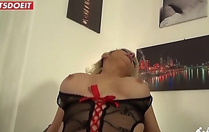 Blonde mom wife rides husbands best friend dick while this guy is at work