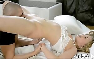 Sweet follower groupie is releasing her needs by sucking males saloon