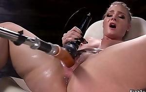 Sexy ass blonde squirter fucks machine