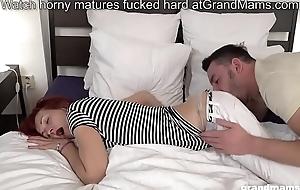 Phthisic redhead grandma picks back boy and licks his big blarney