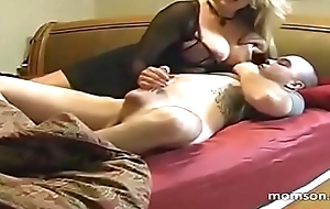 Yummy mommy makes her son cum before sleep!