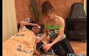 Stunning second-rate legal age teenager chick gives fat age-old dude sexy blowjob