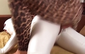 horny couple fucks in the air tight spandex zentai catsuit