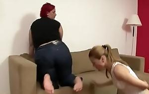 Grown up big lesbian I met on Bbwgrand.com foot revere