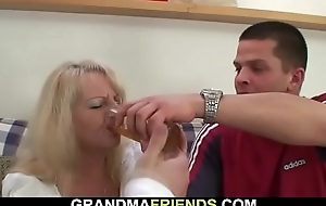 Boozed blonde grandma takes yoke big cocks from one as well as the other residuum
