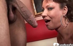 Incredible babe pleasures a big Negroid cock