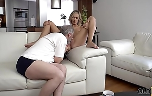 OLD4K. Old old man fingers wife'_s twat to prepare it for upcoming sex