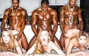 Three stunning blonde ladies rebuild muscled black dudes