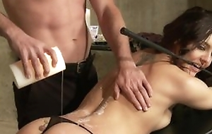 Submissive incomprehensible in black strings blows master's locate