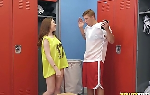 Athletic dude Oliver Flynn copulates cute chick in the locker room