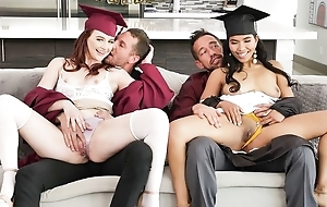 Two kinky college girls with elephantine sexual appetite supplanting their dads