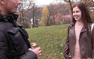 Russian starlet with natural tits sucks big juicy cock
