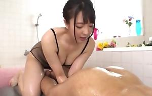 Hot Japanese girl just about big natural tits licks BF's asshole
