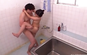 Ravishing Asian lady takes a error-free shower before getting fucked