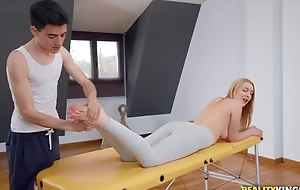Fit blondie gets oiled up and fucked wits say no to masseur