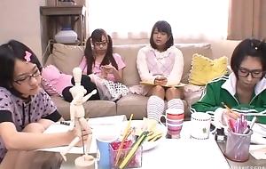 Japanese teen girls sucking added to fucking hard pecker in turn