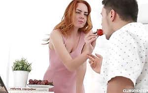 Drawing redhead cookie gets pounded in the morning