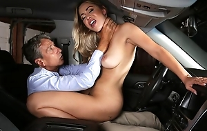 Exotic chick gets eaten out and fucked with respect to get under one's car