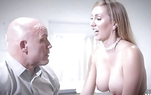 Bald-headed businessman copulates his gorgeous secretary