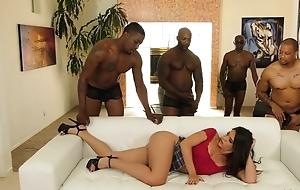 Young latina with pierced nipples enjoys interracial gangbang
