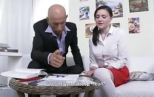 Petite Russian student takes huge nib encircling the brush asshole