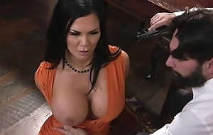 Raven-haired pornstar with huge melons receives screwed in the ass