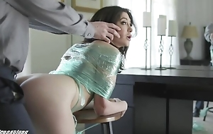 Naughty brunette to inexperienced bowels gets punished to a big dick